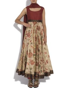 Kalamkari anarkali with crushed dupatta