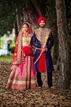 Punjabi bride and groom in Sikh Wedding