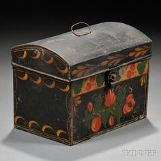 LOVE THE YELLOW SWOOPING DESIGN--Paint-decorated Tinware Dome-top Trunk   Sale Number 2731M, Lot Number 49   Skinner Auctioneers