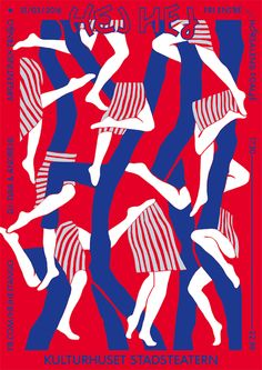 female and male legs intertwined, layered throughout the poster, their legs creating smaller similar shapes with the negative space, the blue legs also creating a sense of flow down the poster as well, repeated simple color choices all help unify this poster
