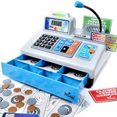 Ben Franklin Toys Talking Toy Cash Register store learning play set with 3 languages paging microphone credit card bank card and play money ** For more information, visit image link. Toys For Girls, Kids Toys, Talking Toys, Play Money, Stem Learning, Learning Toys, Cash Register, Bank Card, Play To Learn