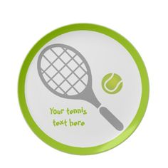 Tennis racket and ball custom dinner plate.  #tennis, #ball, #racket, #tennisgifts, #dinnerplate See more tennis gifts here http://www.zazzle.com/sports_gifts/products/cg-196181571095549222?rf=238228936251904937&CMPN=zBookmarklet