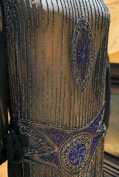 Gorgeous 1920s Gatsby Era Flapper Black Silk Chiffon Beaded Evening Gown