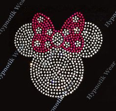 "Rhinestone Transfer "" Minnie Mouse with Pink Bow"" Iron on Hotfix Cute Filled 