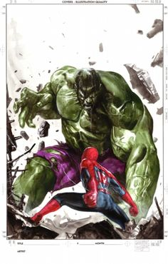 Spider-Man vs Hulk by Gabriele Dell'Otto