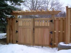 Wood Fence in St Paul, Lakeville, Twin Cities, Woodbury . Wood Privacy Fence, Privacy Fence Designs, Fence Doors, Wood Fences, Backyard Gates, Garden Gates And Fencing, Backyard Pergola, Fence Gates, Metal Pergola
