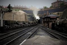 North-bound freight train at Nottingham Victoria Station, 15 August Nottingham City Centre, 15 August, Steam Railway, History Images, Local History, Steam Engine, Steam Locomotive, Train Station, Sheffield