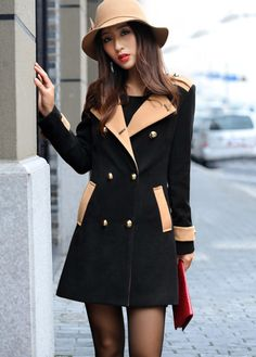 Winter Essential Double Breasted Long Coat - Black
