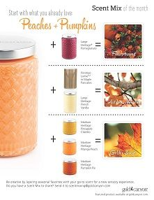 Peaches + Pumpkins is the perfect scent for September! We hold on to a taste of summer with the juicy peach and welcome a taste of fall with rich, earthy pumpkin. Use these Scent Mix Recipes to fall into autumn by mixing your new and old favorites.