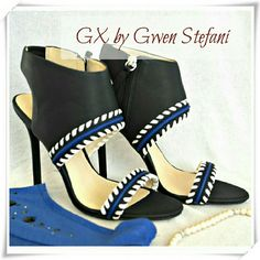 "🌷😍HP🎀💜GX by Gwen Stefani Takako heels sandals. 🌟Soft faux leather sandals with whipstitch detail. Side zip clouser, goring at the back of the anckle strap.   🌟Details: heel 4-1/2"", TTS, but runs a bit narrow, the shoe will fit medium to narrow ankles. The colors are black, blue, and white.  🌟Please use only ✔OFFER 👈 button for all price negotiations. I'll do 👉🍓a price drop⤵ for you for discounted shipping, if we agree about the price. GX by Gwen Stefani Shoes Sandals"