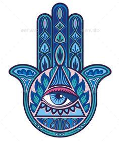 Illustration of hamsa hand vector art, clipart and stock vectors. Hamsa Tattoo, Hand Kunst, Hand Wallpaper, Hamsa Art, Frida Art, Little Buddha, Hand Of Fatima, Hippie Art, Jewish Art