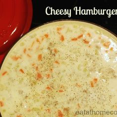 Cheesy Hamburger Soup - I used the queso blanco velveeta.  I also used green pepper instead of celery.  Yum!