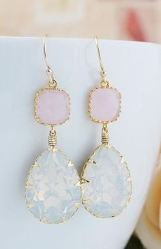 White Opal Swarovski Crystal GOLD FILLED Earrings..I need these in my life!!!