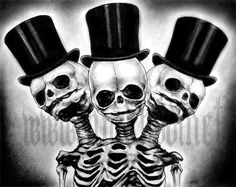 Three headed skeleton with top hats art print by chuckhodi