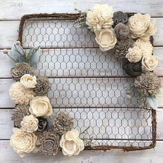 "14"" Square Modern Farmhouse Handmade Wreath"
