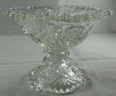 Vintage Clear Glass Candy Dish Small Compote Bowl Pressed Glass Scalloped