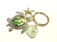 Sea Turtle Keychain, Mermaid Keychain, Starfish Keychain, Shell Key Chain, Beach Key Ring, Sea Foam Green Sea Glass, Turtle Purse Charm