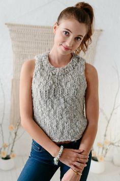 The Camellia Tankby Karen Templer ~ Knit Tank, knit top pattern, knitting patterns for women, knit sweater pattern, bulky yarn, chunky yarn, handspun yarn, easy knitting patterns, intermediate knitting patterns, fall knitting patterns, spring knitting patterns, easy knit tank, #knittingpatterns, #knittop,