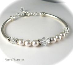 Pearl Bridal Bracelet, Rhinestones Crystal Pearl Bracelet Bangle Bracelet  Sterling Silver Bridesmaids Gifts, Wedding Jewelry. $38.00, via Etsy.