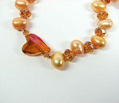 Apricot baroque pearl necklace Swarovski crystal heart Valentines Day  | PrettiesJewelry - Jewelry on ArtFire