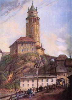 FERDINAND RUNK (1764-1834) Český Krumlov castle Zámek Český Krumlov s Lazebnickým mostem a zámeckou věží, kvaš, počátek 19. století