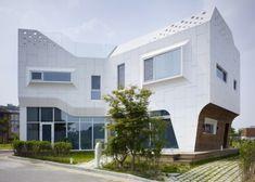 Attraktives weißes Designer Haus in Südkorea gelegen - #Architektur