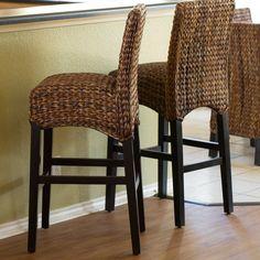 BirdRock Home Seagrass Bar Stool Farmhouse Table Chairs, Stool, Beautiful Furniture, Small Modern House Plans, Small Modern Home, Wayfair Living Room Chairs, Hyacinth Furniture, Table Lamp Wood, Seagrass Bar Stools
