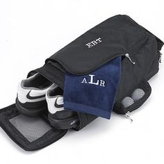 An impeccable place for everything! Our Personalized Golf Shoe Bag is a sporty and sensible way to bring along your golf shoes and accessories the next time you're heading to the links. Also works well for toting sneakers, bowling shoes or just a spare pair to the office. Sure to be appreciated as groomsmen gifts, these shoe box size totes are just the right size for a groomsman