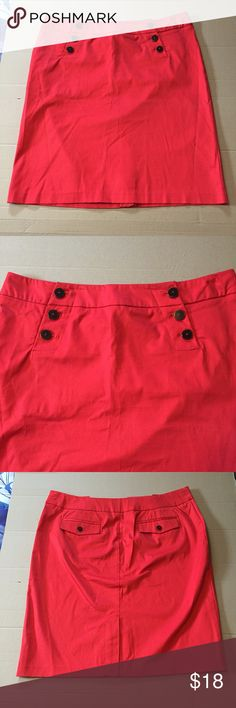 "New York & Company Cotton Button Skirt 14 This is a vibrant red cotton and spandex skirt by New York & Co. in a size 14. There are 6 working buttons in front. The slit in the back has a little X stitch at the bottom of it. Length is about 22.5"". New York & Company Skirts Mini"