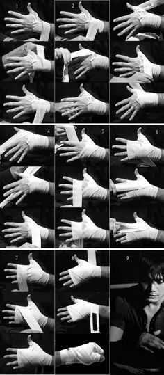 How to tape up your hands before a fight.  Short guide which outlines a fast and secure way to wrap the hands for boxing — Good to know for when I start wrapping in kickboxing.