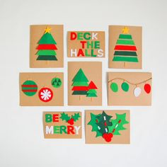 Felt Christmas Cards - red and green