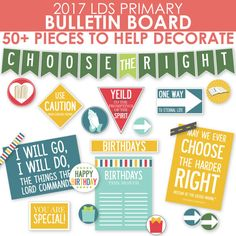 This 2017 LDS Primary Bulletin Board Printable Kit includes over 50 colorful pieces to help you decorate your primary bulletin board and primary room for 2017! Just print, cut and use however you need to decorate your primary room!