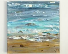 Ocean painting, textured abstract beach modern art, square 12x12 painting. Beach…