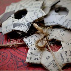 Vintage paper folded stars Text. Gift decoration. 2.3 por ShePinTea