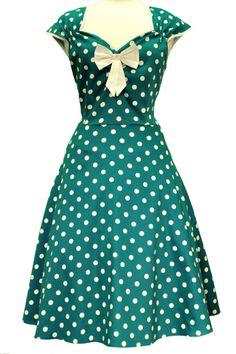 Kleding :: A-lijn kleedjes :: groene polkadots - Lady V