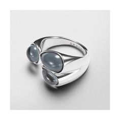 Skagen Sea Glass Ring ($65) ❤ liked on Polyvore featuring jewelry, rings, silver, skagen, glass jewelry, statement rings, skagen jewelry and cocktail rings
