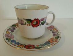 Kalocsa Tea Coffee Cup Saucer Set Hungary Hand Painted Dutch Porcelain Folk Art #FolkArt #Kalocsa