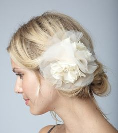 CHARLOTTE DOUBLE   Sheer Flower Fascinator  Ivory by UntamedPetals