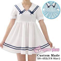 Custom Made XS-4XL Blue/White Sailor Dress SP152311