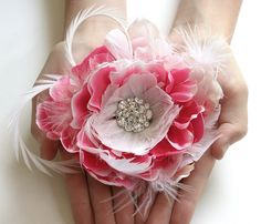 Pink Bridal Hair Flower by FancieStrands