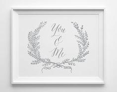 Anniversary Gift, You & Me Print, Gray and White Bedroom Art, Wedding Gift, Minimal Bedroom Decor, Gray Wedding Decor, Gift for Husband Wife