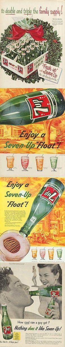 Винтажные постеры - безалкогольных напитков 7UP - 24шт