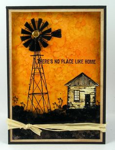 Darkroom Door 'Country Windmill' Photo Stamp & 'Home Sweet Home'… Atc Cards, Paper Cards, Journal Cards, Xmas Cards, Art Journaling, Beautiful Handmade Cards, Birthday Cards For Men, Paper Roses, Masculine Cards