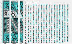 Wayuu Mochila pattern snow and deer Crochet Bracelet Pattern, Crochet Beaded Bracelets, Bead Crochet Patterns, Bead Crochet Rope, Beaded Crafts, Beaded Bracelet Patterns, Beading Patterns, Beaded Crochet, Tapestry Crochet