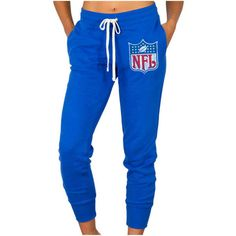 Women's NFL Shield Junk Food Royal Blue Sunday Sweatpants ($55) ❤ liked on Polyvore featuring activewear, activewear pants, royal, junk food clothing, royal blue sweat pants, blue sweatpants, sweat pants and blue sweat pants