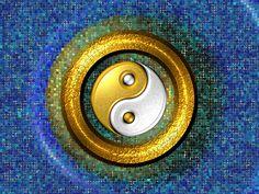 Yin-Yang Golden Ring and Blue Mosaic - computer generated image Yin En Yang, Arte Yin Yang, Yin Yang Art, Qi Gong, Feng Shui, Tarot, Yin Yang Balance, Chinese Philosophy, Yin Yang Tattoos