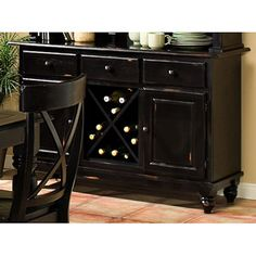 Imagio Home Roanoke Server / Sideboard Cabinet, Rubbed Black