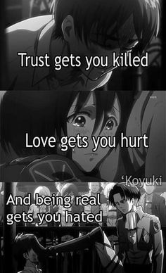 Shingeki No Kyojin // Attack on Titan & Anime Quotes The post Shingeki No Kyojin // Attack on Titan Angst Quotes, Mood Quotes, True Quotes, Tokyo Ghoul Quotes, Sad Anime Quotes, Dark Quotes, Les Sentiments, Attack On Titan Anime, Inspirational Quotes