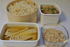 常備菜 : 筍ご飯、若竹煮、とりそぼろ、野菜炒め