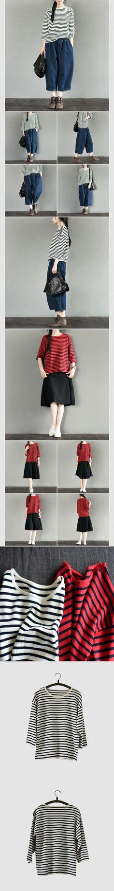 Two Colours Stripe T-shirt Knitwear Cotton Top Summer Blouse Women Clothes